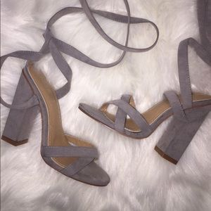 Shoes - Gray suede heels